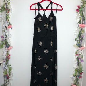 WHBM black sleeveless maxi dress with studs